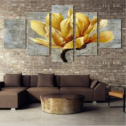 Wholesale Picture Cartoon Flower - 5 Panel Pictures Canvas Painting Gold Orchid Flower Painting Wall Art Decorative Canvas Wall Art Modular Picture(Unframed)
