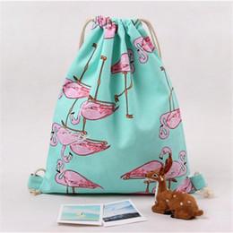 Wholesale Port Fashion - Wholesale- Simplestone Women Flamingos Drawstring Beam Port Backpack Shopping Bag Travel Bag Nov25