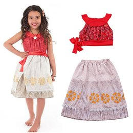 Conjuntos petti online-Girls Moana Dress Sets Little Adventures Princesa Polinesia Dress Up Costume Top Tank + Falda Petti Ropa de Halloween HH7-126