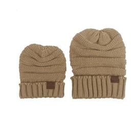 Wholesale Hot Pink Crochet Hat - Hot!!! Parent-Child CC hats Baby Mum Wool Beanie Winter Knitted Hats Warm Hedging Skull Caps Hand Crochet Caps Hats