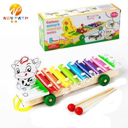 Wholesale Panda Music - Baby's Wooden 8-Note Xylophone Tractor Musical Toys Children Hand Knocking Piano Cattle Panda Horse Giraffe Music Instrument Learning Tool