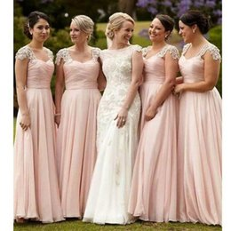 Wholesale Hot Pink Water Beads Wedding - 2017 Hot Blush Pink Bridesmaid Dresses A Line Off Shoulders Beaded Crystals Cap Sleeves Floor Length Chiffon Garden Wedding Guest Gowns