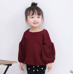 Wholesale Puffed Sleeve Blouse Shirt - Baby girls princess tops fashion kids puff sleeve pullover 2017 autumn new toddler children T-shirt Ins style kids blouses T5132