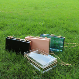 Wholesale Transparent Clutch Bags - Rectangle ABS Shoulder Bag Clear Crossbody Bag With Metal Chain Gameday Handbag Crossbody Clutch Purse DOM106563