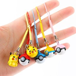 Wholesale Mini Kids Cell Phone - 6 Style 8cm Poke go Pocket Monsters Game Toy Pikachu Poke Ball jingle Mini Bells Cell Phone Strap Dangle pendant key ring B