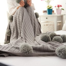 Wholesale New Hotel Knitting - New Super Soft Blanket Knitted Blankets Pear Flowers Simplified Version Nordic Decorative Throw Blankets With Pompoms Fringe