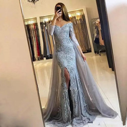 Wholesale Grey Beaded Dress - 2017 Grey Prom Dresses Off the Shoulder Long Sleeve Overskirts Formal Arabic Dubai Mermaid Prom Gowns Split Side Evening Gowns
