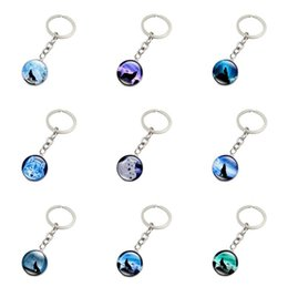 Wholesale key ring pieces - Good A++ Burst howling wolf moon gemstone key ring pendant jewelry key chain KR148 Keychains mix order 20 pieces a lot