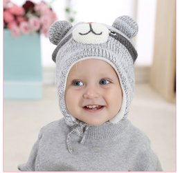Wholesale Childrens Hats Girls - Kids Caps 2017 Baby Boys and Girls Knitted Cartoon Hats Babies Autumn Winter Warm Beanies Childrens Accessories