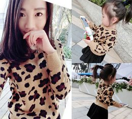 Wholesale Leopard Long Sleeve Sweater Fashion - Mother dauther son sweater fashion girl leopard grain princess pullover womens knitting long sleeve jumper 2017 autumn family clothing T4515
