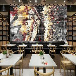 paredes cubiertas de madera Rebajas Custom Wallpaper Murals 3D Graffiti Art Wood Grain Brick Mural de pared Retro Characteristic Cafe Restaurant Papel tapiz de pared