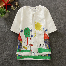 Wholesale Baby Girls Coat Dress - 2016 Baby Girls Dress Coat Sets Children Girls Clothing Set Princess Designer Kids Tracksuit Girls Graffiti Print Fashion Kids Clothes 3-8Y
