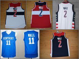a0d189b2e5 High 2 John Wall Jersey hombres rememoración Kentucky Wildcats Colegio 11 John  Wall Basketball Jerseys Vintage cosido Azul Marino Rojo Blanco