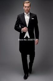 Wholesale Xl Tuxedo Tail Coats - Wholesale- Custom made Slim Fit Groom Tuxedos Best man Suit Notch Lapel Groomsman Men Wedding Party tail coat Jacket+pants+vest+tie