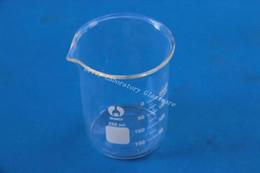 Лабораторные материалы онлайн-Оптовая продажа-250 мл лабораторный стеклянный стакан, с широким ртом, материал из стекла pyrex