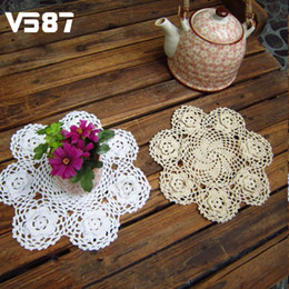 "Wholesale Crochet Flower Decoration - Wholesale- 9"" Flower Round Vintage Handmade Crochet Stereo Doilies 3D Wedding Party Table Decoration Cotton Pad Placemat Beige White"
