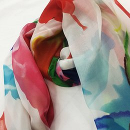 Wholesale Clothing Wholesalers America - 100% natural silk fabric clothing accessories flower scarf beach shawl smooth soft lace embroidery Popular in Europe and America