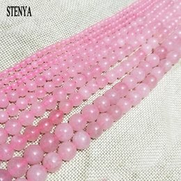 Wholesale Crystal Necklace Jewelry Kits - 6-12mm pink Gem natural stone jewelry findings glass crystal beads round shape necklace ends earrings top spacer bracelet kit