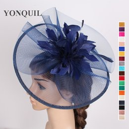 Wholesale Navy Sinamay - Navy or Multiple colors select women wedding 30CM hat sinamay fascinator base feather flower hair fascinator fashion hair accessories SYF110