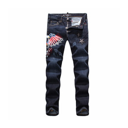 Wholesale Men S Short Trouser Jeans - Wholesale- 2016 New Arrival Top quality Men Embroidery Skull Short Jeans Man Skinny Slim Denim Trousers Fashion Casual long jeans 28-38PP
