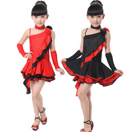 Wholesale Latin Salsa Ballroom Dress - Girls Latin Dance Dress Ballroom Dress Black Tango Dress Kids Salsa Dance Skirt Competition Stage Dancewear