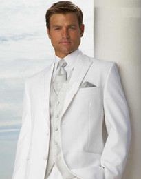 Wholesale Groom Wedding Dress Price - Wholesale- Cheap price - White Groom Tuxedos Men's Wedding Dress suits Prom Clothing