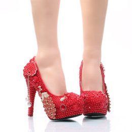 Wholesale Phoenix Big - Big Size Wedding Shoes Phoenix and Red Pearl High Heel Prom Shoes Gorgeous Bridal Dress Shoes Adult Ceremony Pumps Size 45