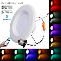 Wholesale Plug Down Lights - Wholesale- New Style Smart Bluetooth LED Light Recessed Ceiling Downlight 5&6 inch 14W Dimmable LED Down Light with E26 Plug AC120V SMD5050
