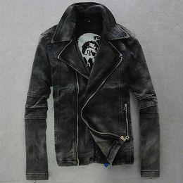 Wholesale Men Biker Jackets - Wholesale- 2017 New Arrival High Quality Mens Slim Vintage Punk Motorcycle Moto Biker Denim Hoody Jean Jacket Coat Black Plus Size M-2XL