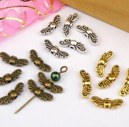 Wholesale Bronze Spacers - 300Pcs Antiqued Gold Silver Bronze Tiny Butterfly Wing Spacer Beads Connectors charms For Bracelet Jewelry Findings Handcraft Accessories