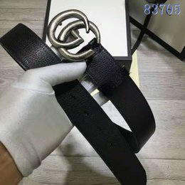 Wholesale Chain Genuine Leather - High quality double G chain buckle true leather designer belts European style brand belt business casual men waistbands with box