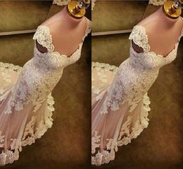 Vestido de novia de baile champán online-Vestidos de fiesta de encaje de sirena cariño mangas apliques Tulle Champagne vestidos de noche de sirena 2018 vestidos de noche barrer el tren