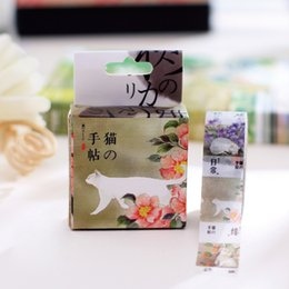 Wholesale New Scrapbook Paper - Wholesale- 2016 1Box New Japanese Washi Masking Tape White Cat Scrapbook Paper Sticker Kawaii Scrap Decorative Scotch Tape H1164