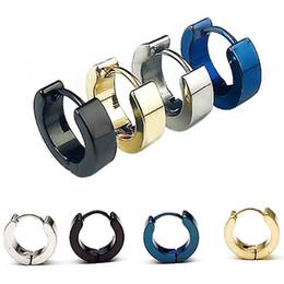 Wholesale ear piercing studs steel - Chic 1Pair Cool Punk Men's Stainless Steel Hoop Piercing Round Earring Ear Stud Men jewelry
