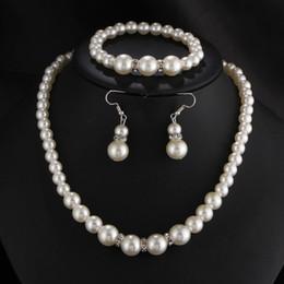 Wholesale White Plastic Hoops - Drop Plastic Pearl Crystal Dangling Hoop Earrings Bangles Pendant Wedding Jewelry Sets for Women