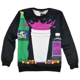 Wholesale Purple Drank - Wholesale- Alisister Women Men Harajuku 3D Hoodies Sweatshirts Print Bar Cup Drink Cookie Clothing Casual Unisex Tie Dye Sweatshirt