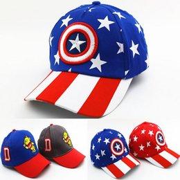 Wholesale Minion Hats Cartoon - Child Captain America Baseball Cap Boys Girls Super Hero Hats MINIONS Caps Cartoon Topee Caps Movie Children Hip-pop Cap Hat