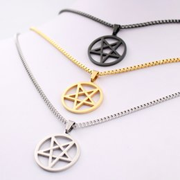 Wholesale Glass Symbols - pentagram satanic symbol Satan worship Wicca Pentacle stainless steel pendant necklace Silver gold black 2.4mm 24 inch box chain for Mens