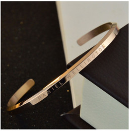 Wholesale Wedding Set Silver Plated - new DW Bracelets Cuff Rose Gold Silver Bangle 100% stainless steel Bracelet Women and Men Bracelet pulsera