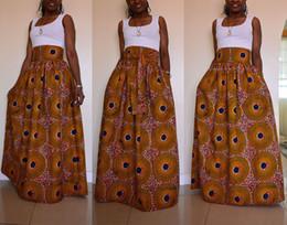 Wholesale Totem Skirts - 2017 African Women Boho Yellow Dot Dashiki Totem Dresses Cocktail Clubwear high waist Pleated Skirt National characteristic Maxi Dress