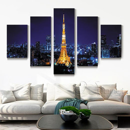 Wholesale Paris Oil Paintings - 5 Panel Paris Eiffel Tower Wall Canvas Oil Painting Home Decor Modular Wall Pictures For Living Room Print Unframed PR1337