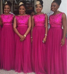 Wholesale Online Bridesmaids Dresses - Beautiful Fuchsia Tulle Sweep Bridesmaids Dresses Sequined Top 2017 African Style Formal Custom Online Cheap Sale Bridesmaids Gowns