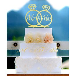 Wholesale Mr Rings - Double Diamond Ring Shape Mirror Surface Gold Wedding Cake Topper Acrylic Mr & Mrs Cake Topper Wedding Decorations Supplies