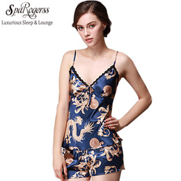 Wholesale ladies pajama sets shorts - Wholesale- SpaRogerss Women Pajama Shorts Set 2017 New Luxury Summer Bath Pajamas Brand Ladies Faux Silk Female Home Tops Pants Set YT012