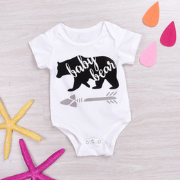 Wholesale White Baby Rompers Wholesale - INS Baby boys girls White Cotton Bear Rompers Bodysuit Newborn Cartoon Romper Jumpsuit Playsuit For 0-24M