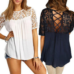 Wholesale Dolman Sleeve Shirts - Women Blouses 2018 Hot Elegant Lace Crochet Splice Shirts O Neck Short Sleeve Hollow Out Casual Loose Blusas Sexy Tops