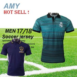 Wholesale T Shirt Real Madrid - New Real Madrid LA Galaxy Mexico 2017 casual polo Jerseys Single T-Shirt Soccer Short sleeve training shirt Football Shirts