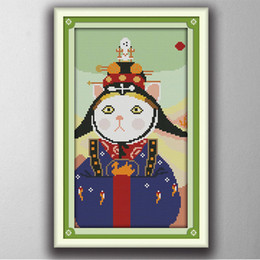 Wholesale Chinese Cross Stitch Kits - Cat Princess lovely cartoon painting counted printed on canvas DMC 14CT 11CT chinese Cross Stitch Needlework Set Embroidery kits
