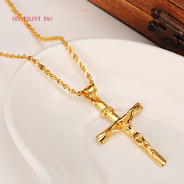 Wholesale Man 24k Gold Chains - Men Women 24k gold real Gf 2mm Smooth Chain Necklace Cross Pendant INRI Juses Crucifix Christianity INBI Jesus of Nazareth King