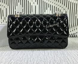 Wholesale Gold Hardware - Free Shipping 25cm Women's Black Patent Leather Handbags 1112 Brand Female Double Flaps Bag Gold Hardware Fashion Lady Chain Shoulder Bag